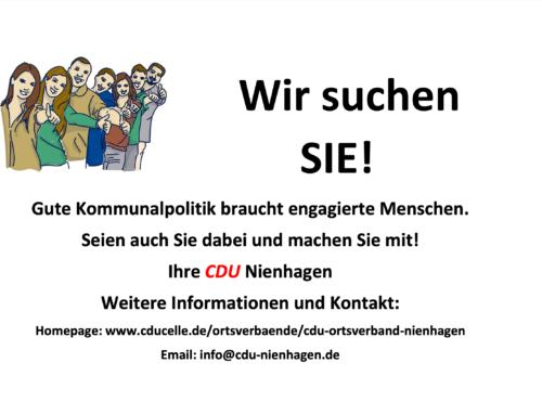 Aufruf zur Kommunalwahl: CDU Nienhagen sucht Sie!